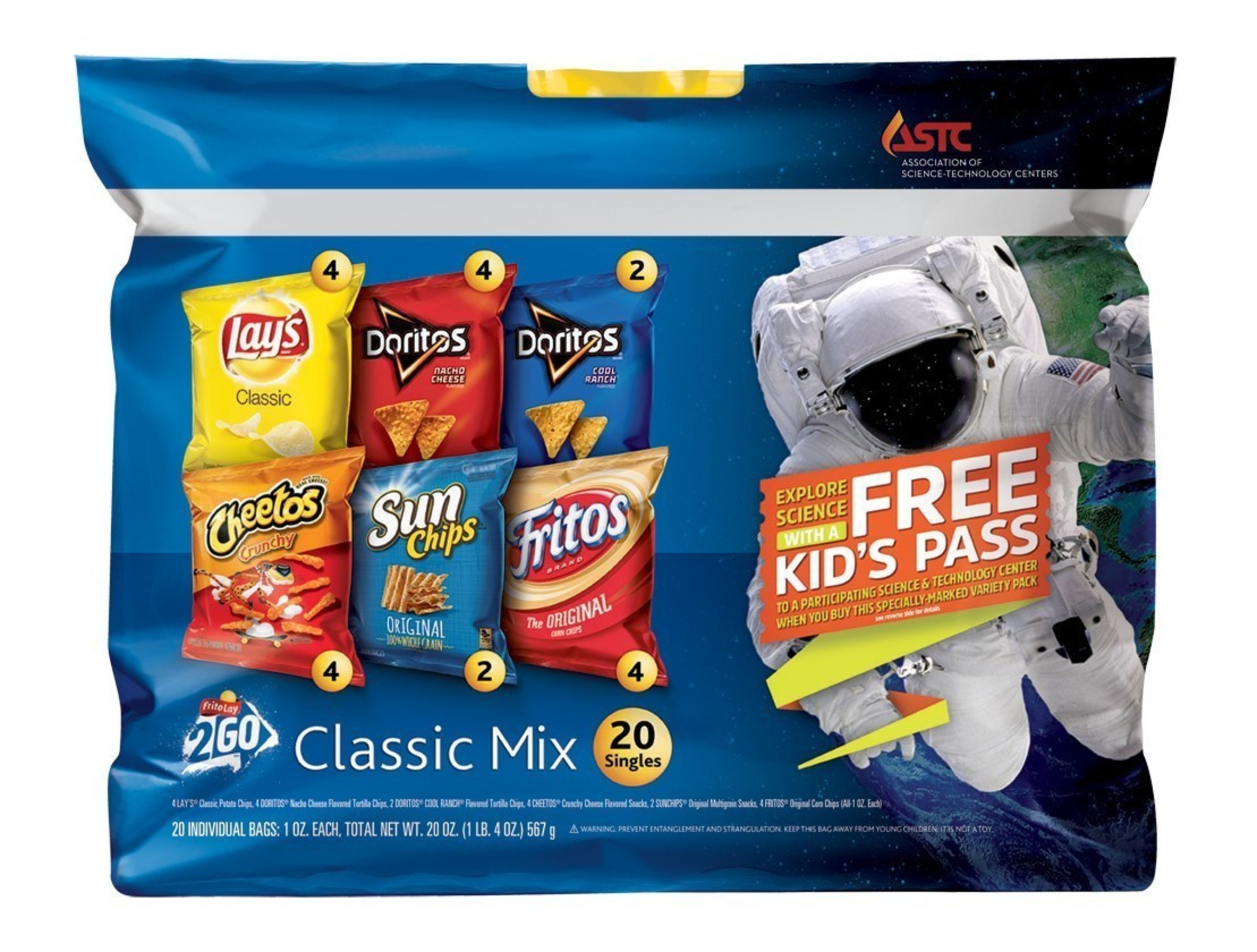 Frito-Lay 2 Go Variety Packs partners with the Association of Science-Technology (ASTC) to offer free kid's passes to participating ASTC member science centers with the purchase of specially marked packages of Frito-Lay 2 Go.