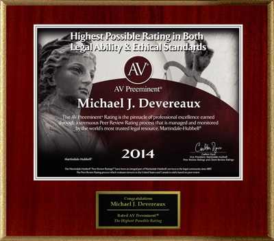 Attorney Michael J. Devereaux has Achieved the AV Preeminent(R) Rating - the Highest Possible Rating from Martindale-Hubbell(R). (PRNewsFoto/American Registry)