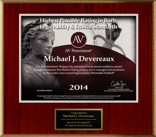 Attorney Michael J. Devereaux has Achieved the AV Preeminent(R) Rating - the Highest Possible Rating from ...