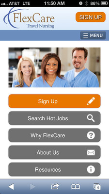 FlexCare Mobile Website Homepage.  (PRNewsFoto/FlexCare Medical Staffing)