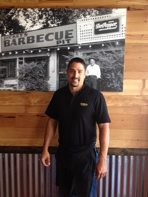 Owner/Operator Bryan Roche celebrates the grand opening of his new Dickey's in Fresno.