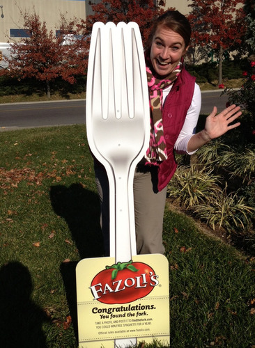 Look out for this 5-foot-tall fork at locations throughout the country for a chance to win free spaghetti for a  ...