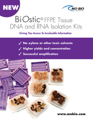 The scientific community has millions of stored FFPE tissues, waiting to reveal invaluable biomarker information. The main limitation has been accessing RNA in high enough concentration and in a state amendable to successful amplification for analysis by PCR, Arrays or NGS. This is what the new MOBIO BiOstic FFPE Tissue RNA Isolation kits deliver. In association with the previously released BiOstic FFPE Tissue DNA isolation kit, researchers will now be able to discover key attributes from precious samples. (PRNewsFoto/MO BIO Laboratories, Inc.) (PRNewsFoto/MO BIO LABORATORIES, INC.)