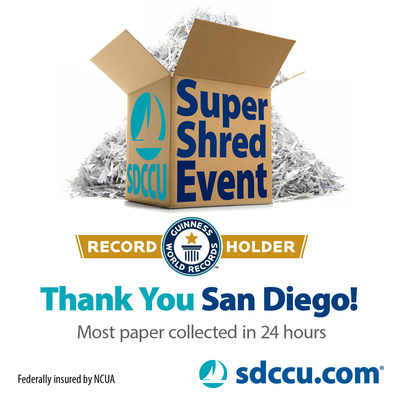Thanks to the efforts of Team SDCCU and our partners in the community, we broke our existing GUINNESS WORLD RECORDS(TM) title at the 2016 SDCCU Super Shred Event, collecting, shredding and recycling an incredible 589,251 pounds of paper! More than 12,000 people turned out at Qualcomm(R)