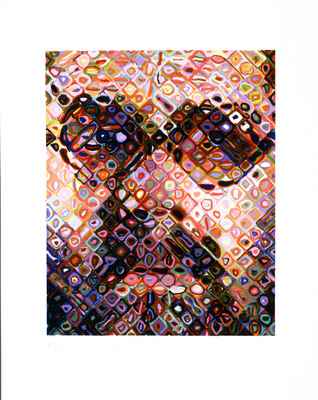 Chuck Close, Self-Portrait, 2002, 43-color handprinted woodcut on Nishinouchi paper, 31 X 25 inches, edition 26/60, copyright Chuck Close, courtesy Pace Prints.  (PRNewsFoto/Monterey Museum of Art, Pace Prints)