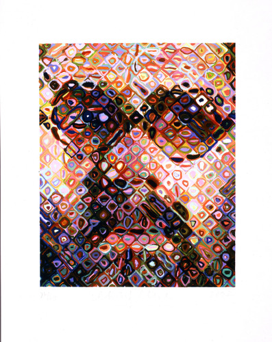 Chuck Close, Self-Portrait, 2002, 43-color handprinted woodcut on Nishinouchi paper, 31 X 25 inches, edition ...