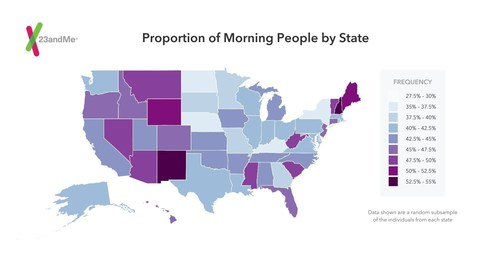 Proportion of morning people by state based on data from 23andMe (PRNewsFoto/23andMe, Inc.)