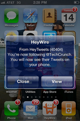HeyTweets Push Notification Screen.  (PRNewsFoto/HeyWire)