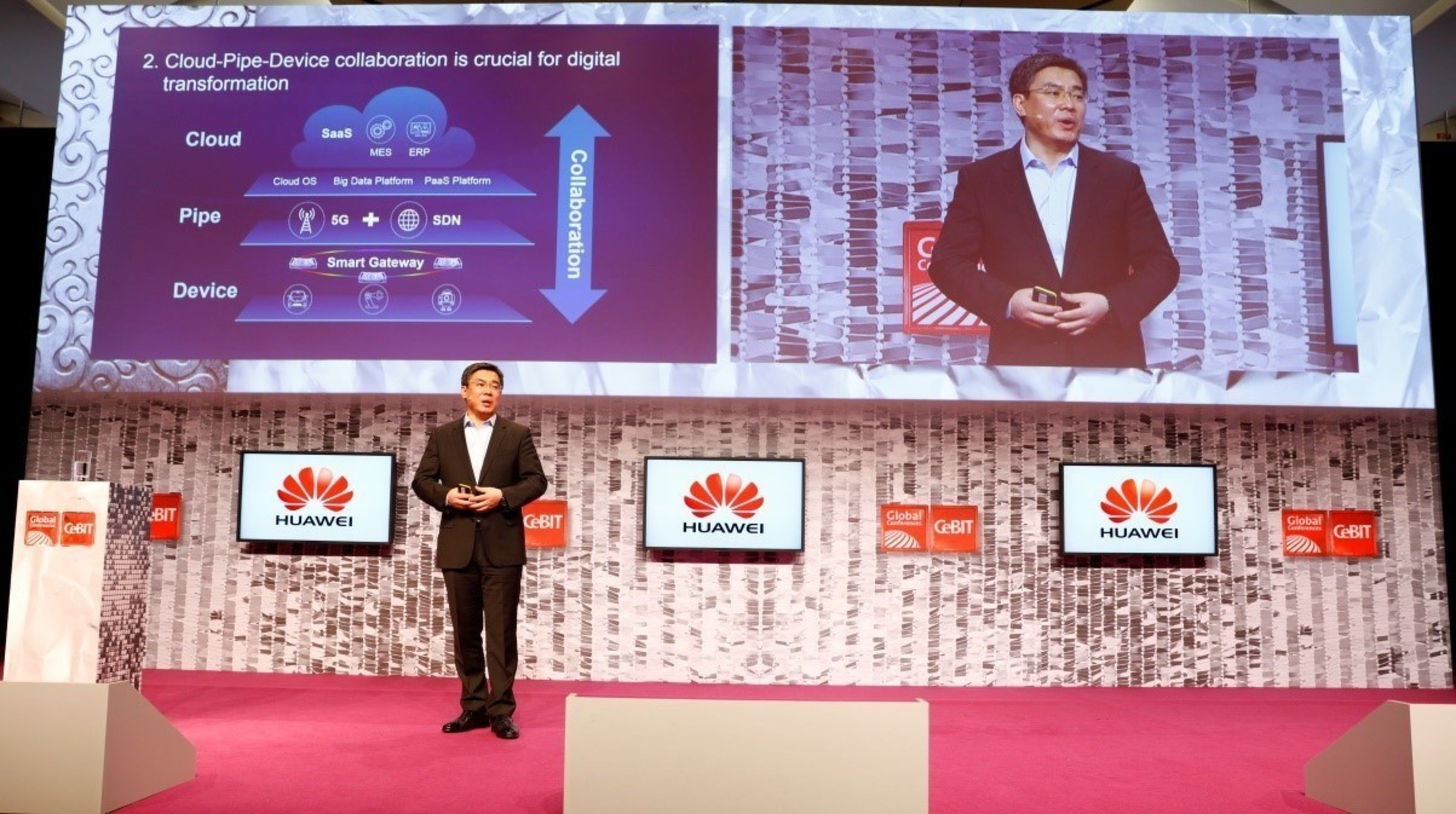 Yan Lida, President of Huawei Enterprise Business Group, delivered a keynote speech at the CeBIT 2016 Global ...