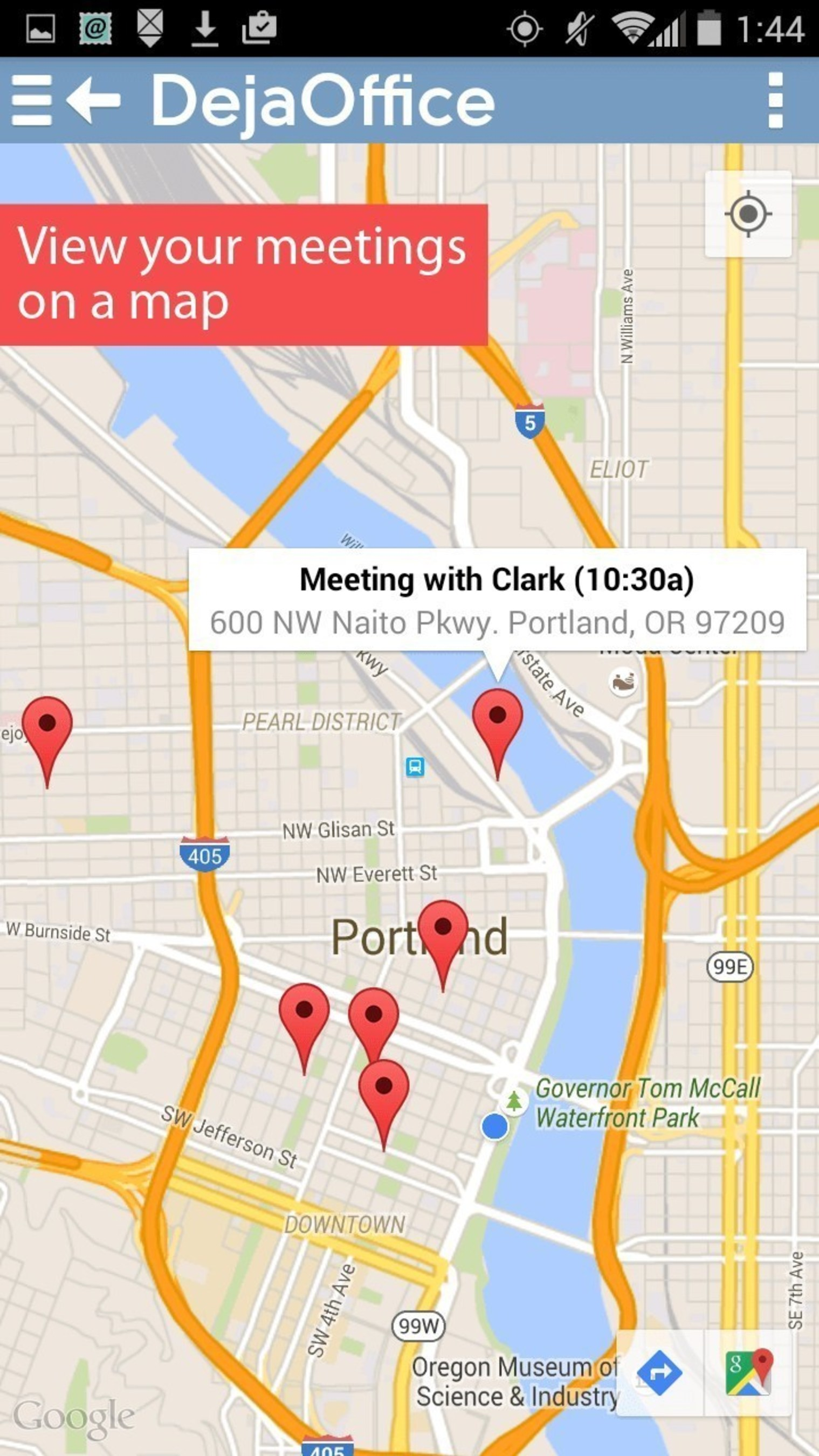 View your meetings on a map