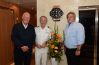 Pictured here from left to right in front of the new Hublot wall clock outside the ship's Grand Salon are: Jean-Claude Biver, Hublot's Chairman of the Board; Seabourn Quest Captain Geir-Arne Thue Nilsen; and Micky Arison, Carnival Corporation & plc Chairman and CEO.  (PRNewsFoto/Seabourn)
