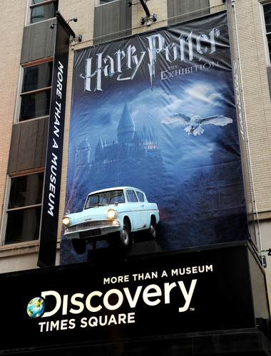 Discovery Times Square marquee in New York City unveiled in celebration of Harry Potter: The Exhibition making its final North American tour stop at Discovery Times Square on April 5, 2011. (PRNewsFoto/Discovery Times Square, Mike Coppola)