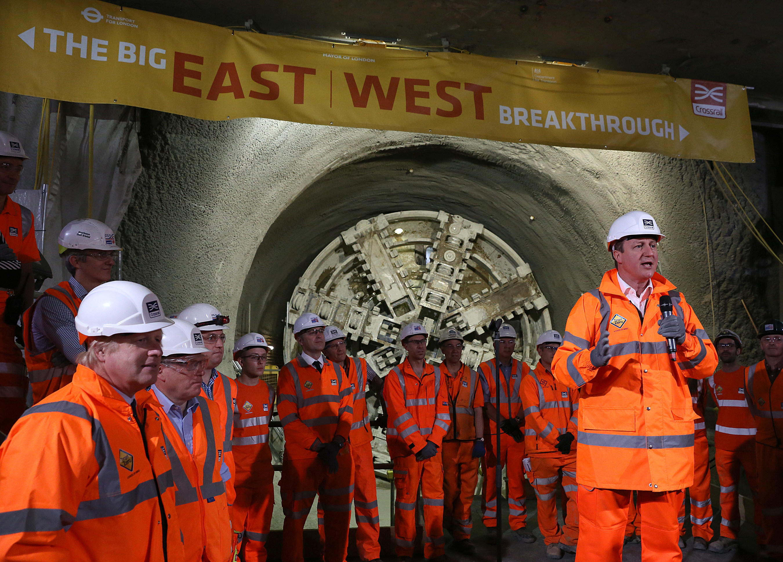 Prime Minister and Mayor of London celebrate completion of Crossrail's tunnelling marathon.