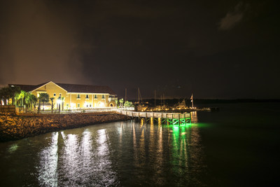 Our Facility from the the water at night.
