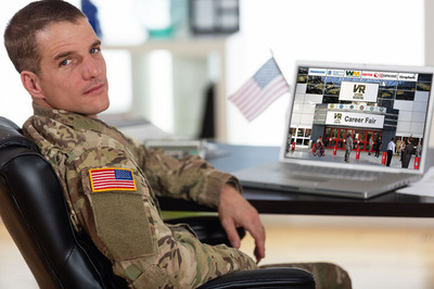 In the VRS virtual career fair, you can join from anywhere, and connect live with employers. We Bring the Career Fair to You!  (PRNewsFoto/Veteran Recruiting Services)