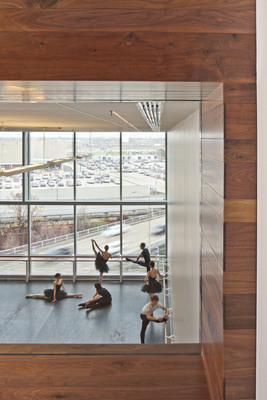 Houston Ballet's new Center for Dance, designed by Gensler, features panoramic city views for dancers-and for passersby, a view of ballet inside.