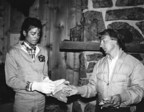 James William Guercio, owner of Caribou Ranch, with Michael Jackson who visited the ranch during The Jacksons Victory Tour in 1984. Similar branded clothing will be available in the auction including a blue hooded parka worn by Jackson while on the ranch.