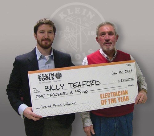 Klein Tools' 2013 Electrician of the Year winner Billy Teaford receives a $5,000 prize from Tom Barton, ...