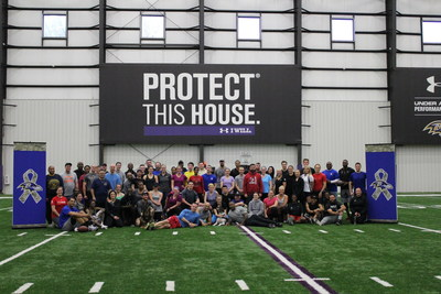 Wounded Warrior Project Alumni in the Baltimore Ravens' Under Armour Performance Center, after their workout!
