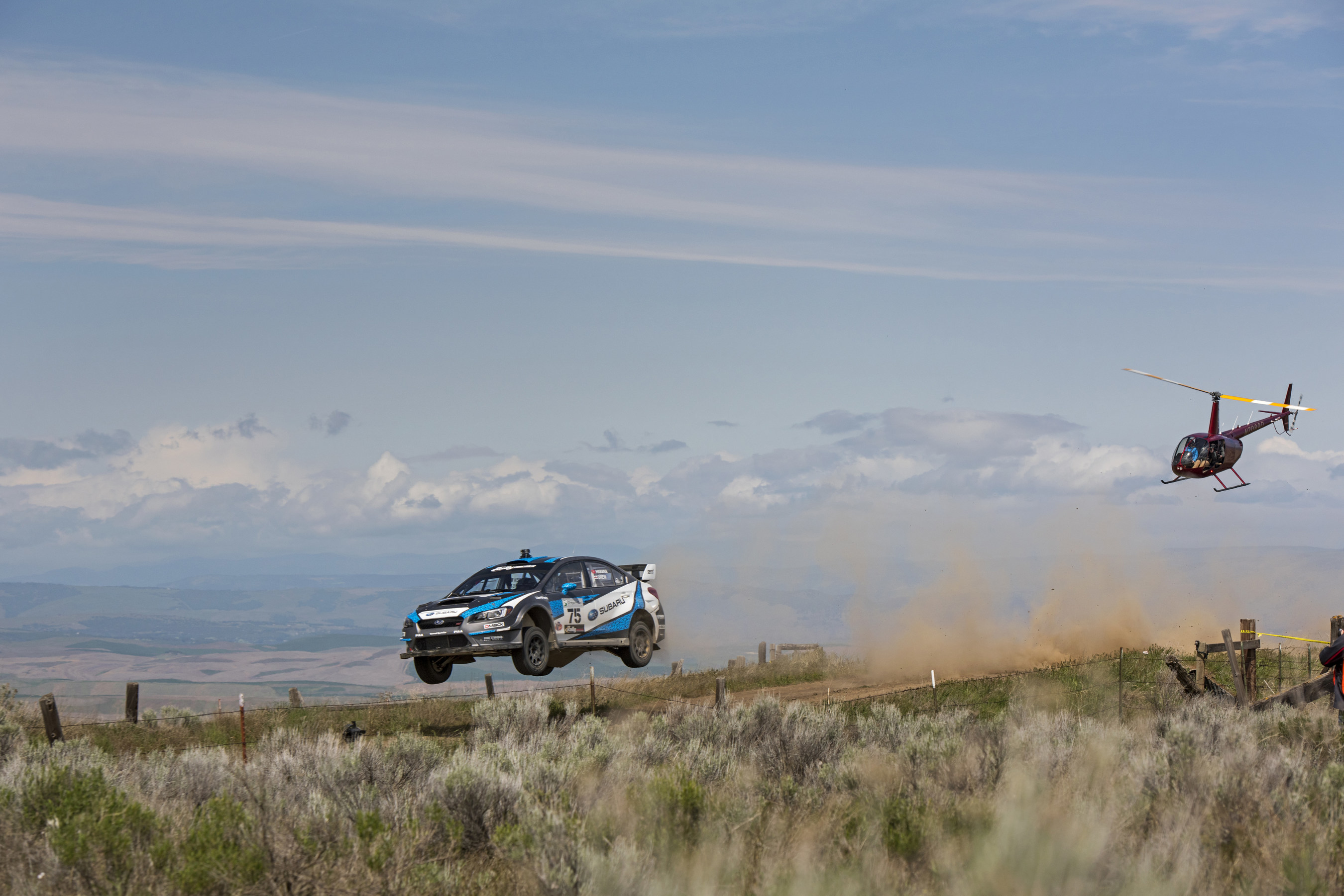 David Higgins flies his WRX STI to victory at Oregon Trail Rally.