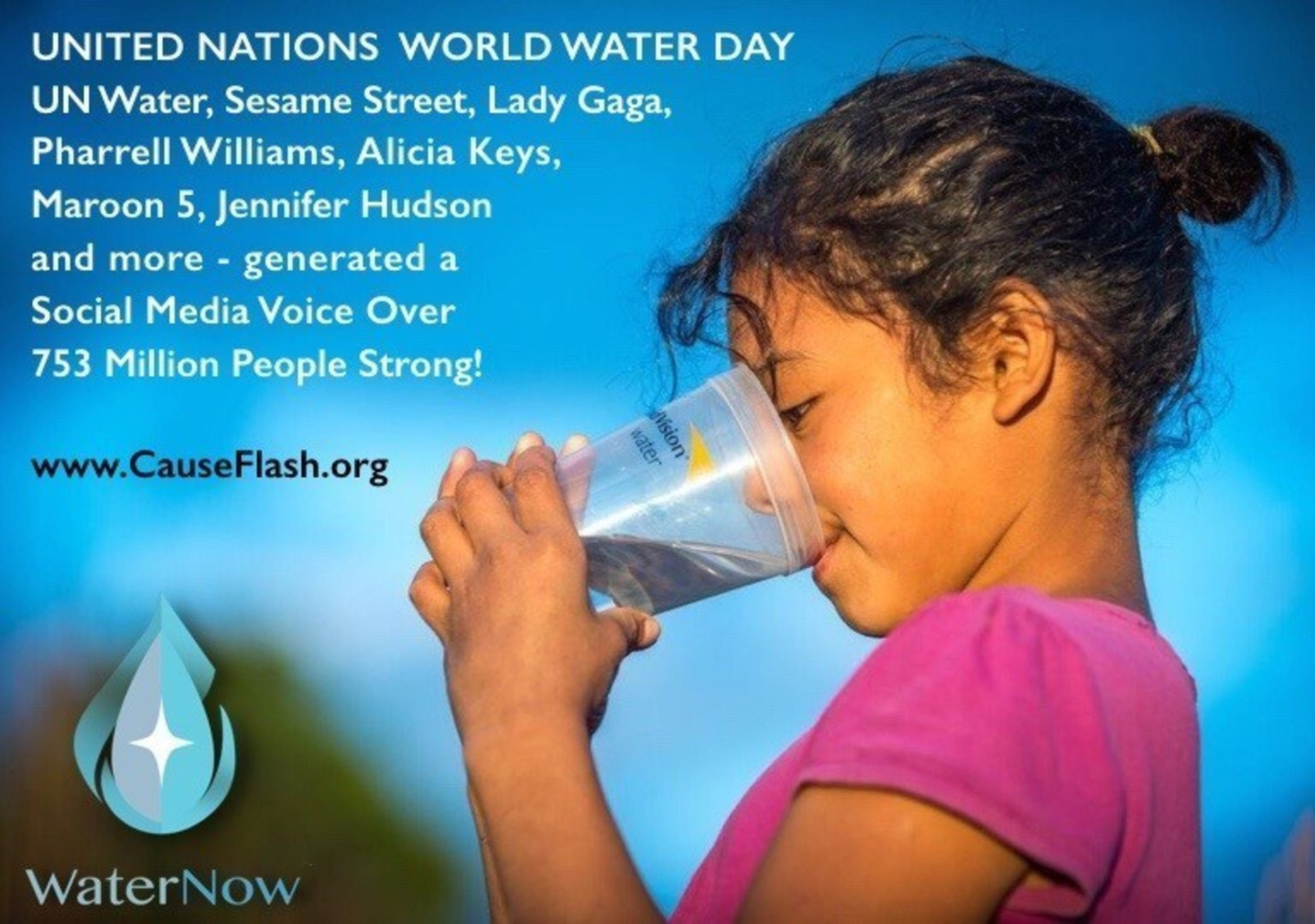 Water Now promotes UN World Water Day so children can receive clean water via World Vision Water