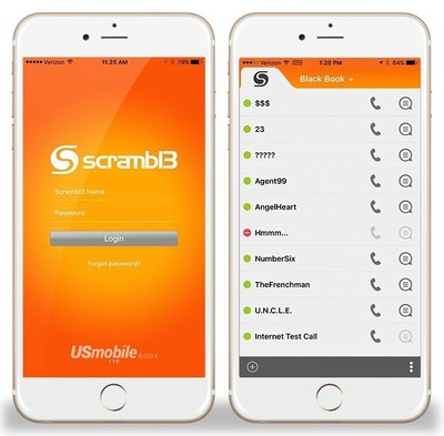 The Scrambl3 Black Book contact listing provides complete user privacy, and a presence indicator