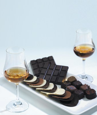 Chocolate-Cognac pairing, a happy union of textures and aromas for Valentine's Day (PRNewsFoto/The Cognac Board (BNIC))