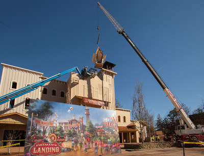 The setting the bell tower marks progress on the $8 million all-new themed area Fireman's Landing at Silver Dollar City in Branson, Missouri.