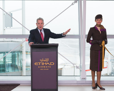 Etihad Airways President and Chief Executive Officer James Hogan at the official opening of the airline's new premium First and Business Class Lounge at New York's John F. Kennedy International Airport.