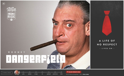 Home page of comedy legend Rodney Dangerfield's new website (www.rodney.com) launched today, November 22nd, 2013 (his 92nd birthday). Rodney was a cyberspace pioneer who became the first celebrity to have his own official website in March 1995.