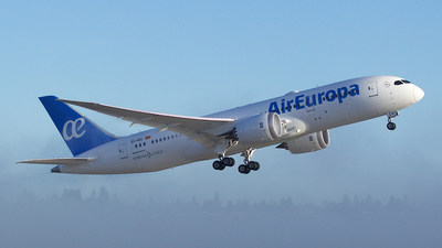Air Europa takes delivery of its first 787 Dreamliner following a ceremony held at Boeing's 787 assembly site in North Charleston, South Carolina.