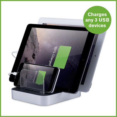 The Atomi Charge Station can charge 2 tablets and 1 smartphone.