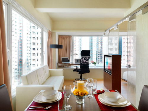 One Bedroom Premier, The Johnston Suites Hong Kong serviced apartments.  (PRNewsFoto/Sino Group of Hotels)