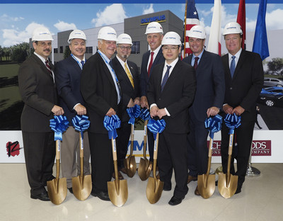 Breaking ground on the new $12 million Olympus facility in Bartlett, TN. Pictured from left to right: Dan Scalzo, VP Service Engineering & Repair Olympus; Michael Terry, SR VP and Partner Renaissance Group; Chris Woods, President, Chris Woods Construction; Keith McDonald, Mayor City of Bartlett; Joe Doherty, President, Olympus Surgical Technologies America; Takeshi Oue, EVP, Olympus Surgical Technologies America; Nacho Abia, President, Olympus Corporation Americas; Allen Borden, Assistant Commissioner of TN Economics & Community Development