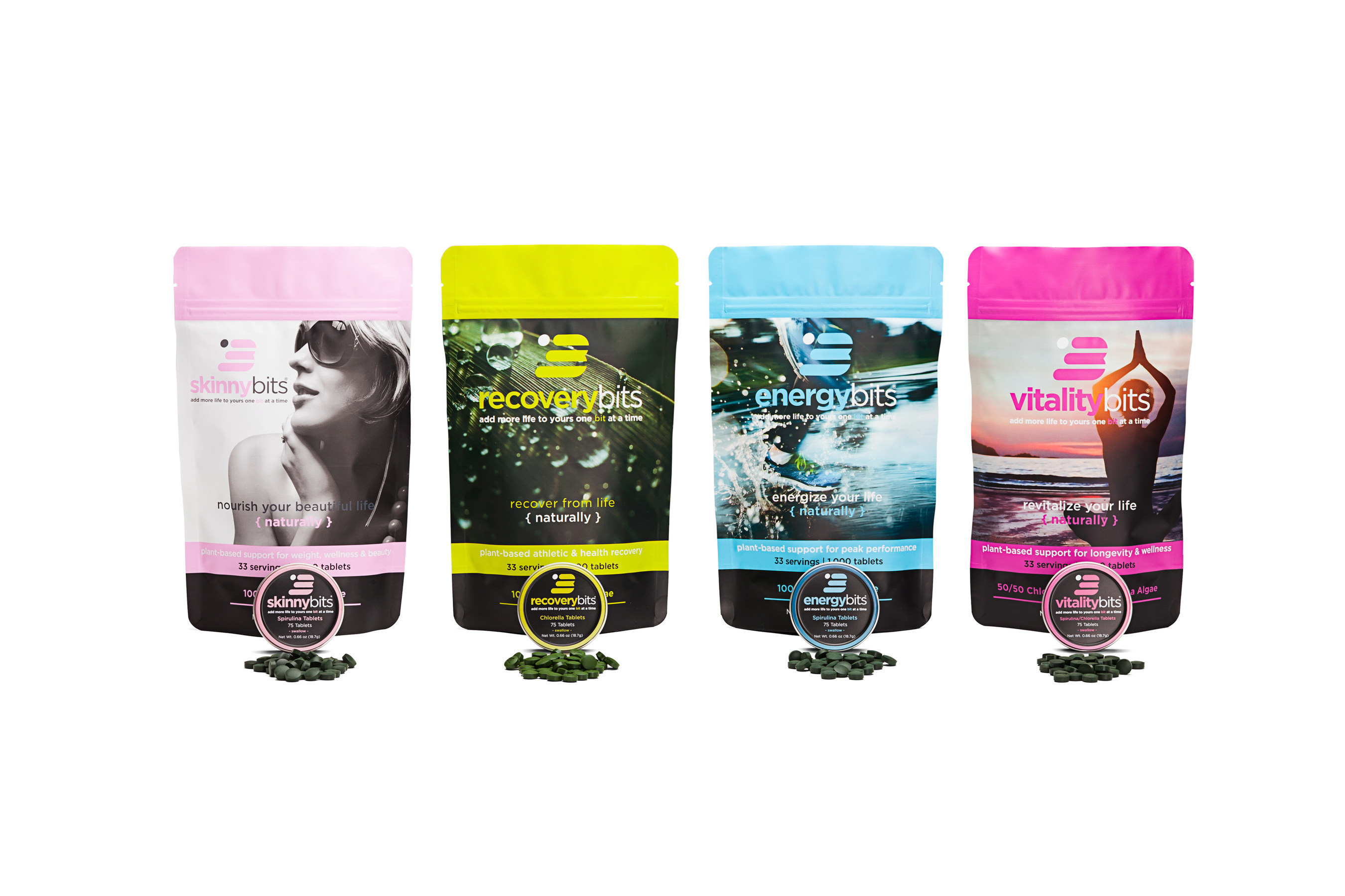 ENERGYbits four brands of algae sold in bags of 1,000 tablets. One bag is a months supply and is a food-based replacement for vitamins and supplements