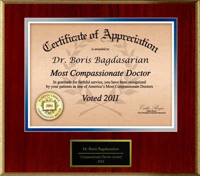 Patients Honor Dr. Boris Bagdasarian for Compassion.  (PRNewsFoto/American Registry)