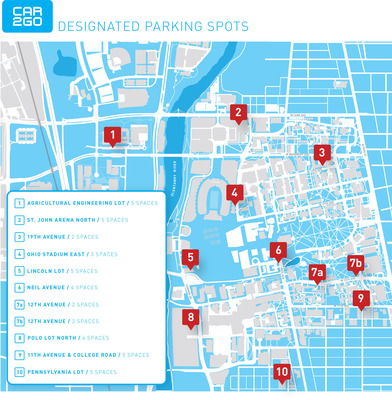 car2go parking locations at The Ohio State University campus.  (PRNewsFoto/car2go North America LLC)