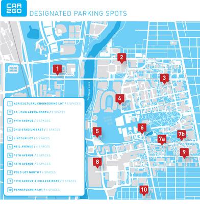 car2go parking locations at The Ohio State University campus.  (PRNewsFoto/car2go North America LLC)
