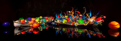 Ikebana and Float Boats grace one of eight indoor galleries at Chihuly Garden and Glass.  The most comprehensive collection of renowned artist Dale Chihuly opened in Seattle on Monday, May 21, 2012.  (PRNewsFoto/Chihuly Garden and Glass)