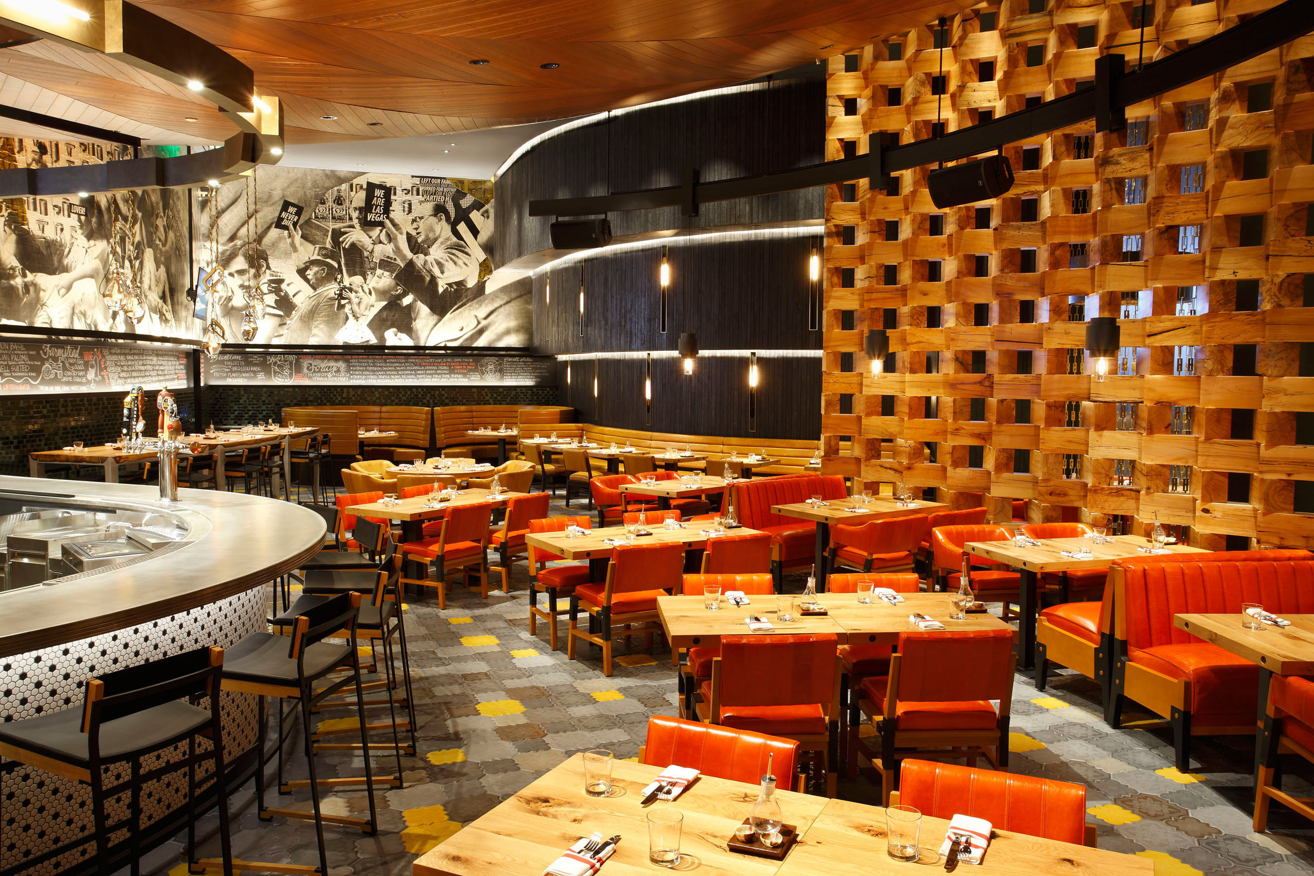 FIVE50 Pizza Bar, the first casual concept from James Beard award-winning Chef Shawn McClain, is now open at ARIA Resort & Casino in Las Vegas. Chef McClain's newest restaurant is serving up wood-fired pizzas, flavorful small plates, artisanal charcuterie, international cheeses, seasonal salads, handmade pastas and decadent desserts, all complemented by an impressive collection of carefully selected craft beers. Designed by celebrated architect David Rockwell and Rockwell Group, the industrial-chic space blends the warmth, soul and nostalgia of classic pizzerias with the social energy and edgy vibe of the best bar scenes. www.arialasvegas.com/dining/restaurants/five50.  (PRNewsFoto/ARIA Resort & Casino)
