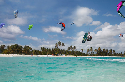 Colorful kites fill the sky in Cabarete on the DR's North Coast, one of six magical regions where visitors can partake in thrilling adventures and experience Dominican culture.  (PRNewsFoto/The Dominican Republic (DR) Ministry of Tourism)