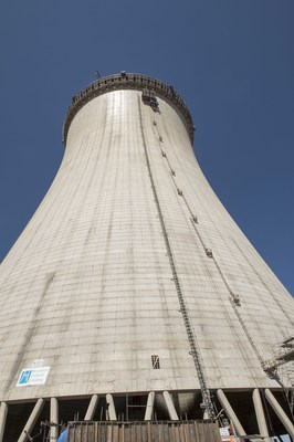 Vertical construction of the Unit 4 cooling tower is complete at 601 feet. Cooling towers improve efficiency and reduce the volume of water used to operate the plant.