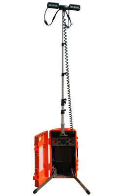 The WAL-18LED-BP LED light tower is a fully portable and rechargeable unit and produces a wide flood of light ideal for use on construction sites and emergency scenes. This light tower offers a long list of features including versatile power and recharging options and provides an extremely rugged lighting solution that is ideal for use in commercial and industrial applications as well as emergency services and law enforcement environments.  (PRNewsFoto/Larson Electronics)