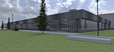 The Timken Company will build a new bearing manufacturing plant in Romania, shown in this rendering.