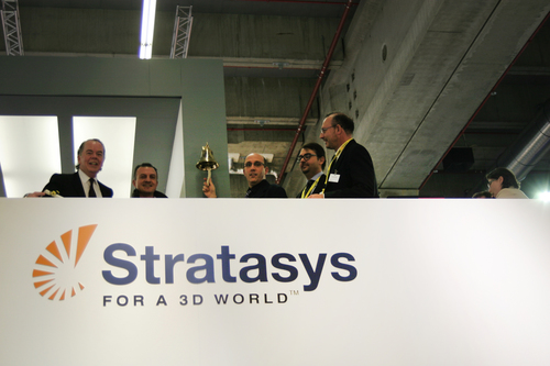 Spring SRL with Andy Middleton, Stratasys General Manager EMEA, ringing the bell following the purchase of their seventh Stratasys FDM 3D Printer. (PRNewsFoto/Stratasys Ltd.) (PRNewsFoto/STRATASYS LTD_)