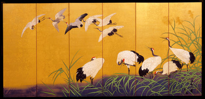 Reeds and Cranes, 19th c. Suzuki Kiitzu (Japanese, 1796  1858), will be on display at Planterra Conservatory in West Bloomfield, MI from June 2nd, 2014 - August 3rd, 2014.