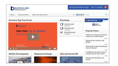 BusinessAppNews.com, sponsored by Alpha Software, curates the best thinking on responsive design, mobility, languages and tools, standards, analyst research, market trends, and more.  (PRNewsFoto/Alpha Software)