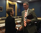 NADCO CEO Barbara A. Vohryzek discusses the 504 Loan program with South Carolina Rep. Tom Rice (R) after his subcommittee's hearing on small business lending and economic development.