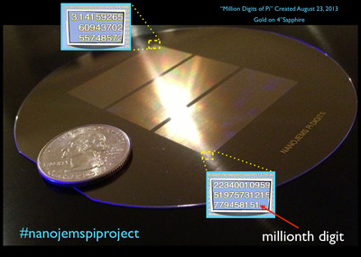 The first million digits of the never-ending number pi patterned in gold on sapphire. #nanojemspiproject.  (PRNewsFoto/Nanojems)