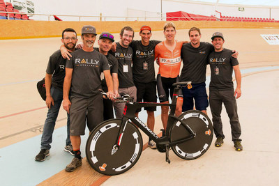 Tom Zirbel with the Rally Cycling support staff